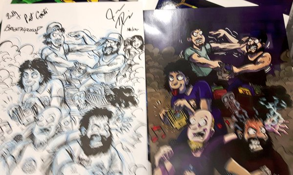Gjestene signerte originaltegningen min. Tegnet på Melvor så han også kunne signere.